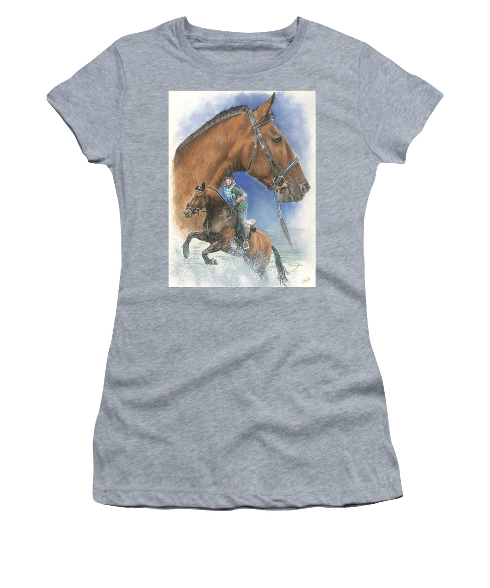 Hunter Jumper Women's T-Shirt featuring the mixed media Cleveland Bay by Barbara Keith