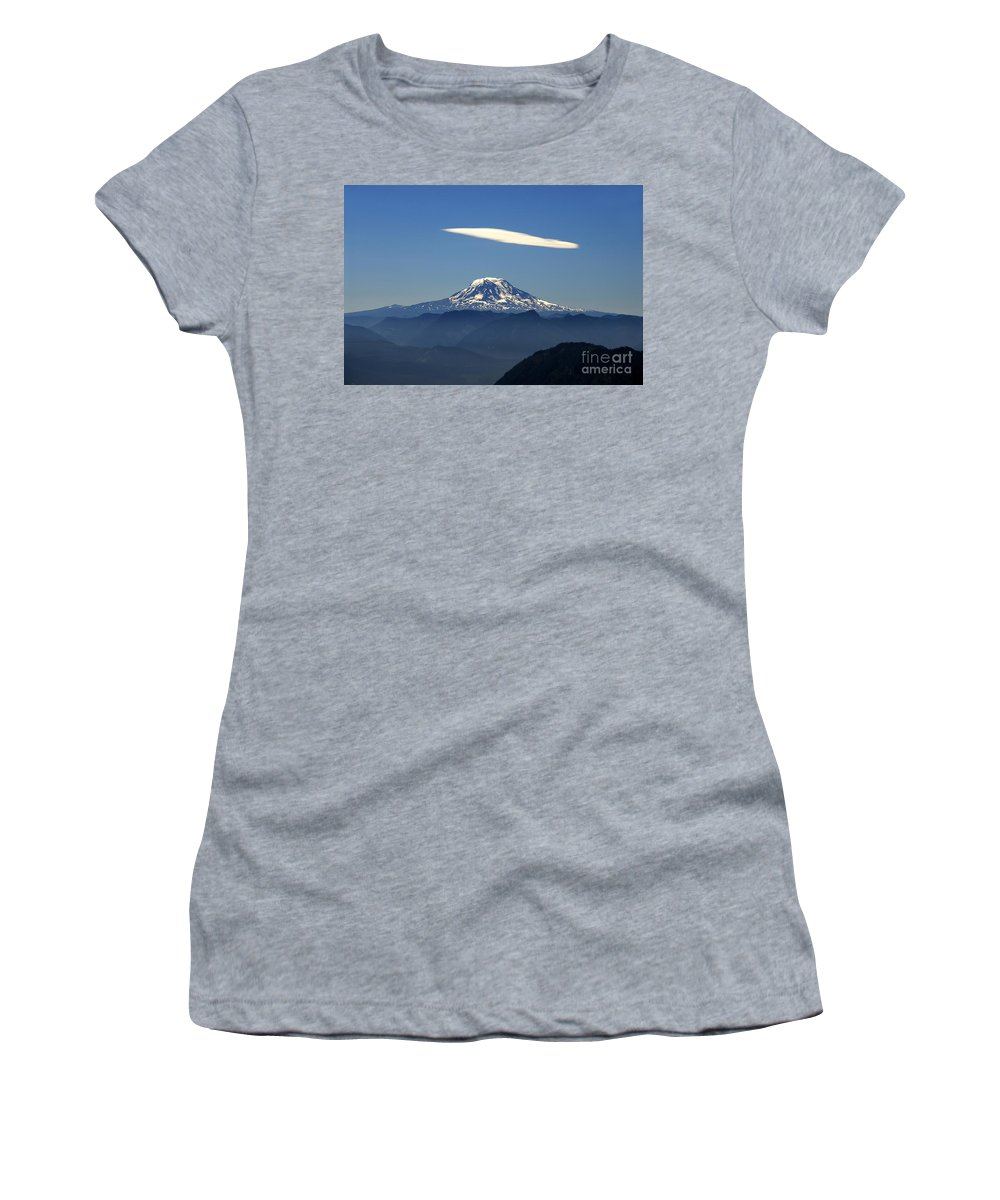 Mount Adams Women's T-Shirt (Athletic Fit) featuring the photograph Cloud Over Adams by David Lee Thompson