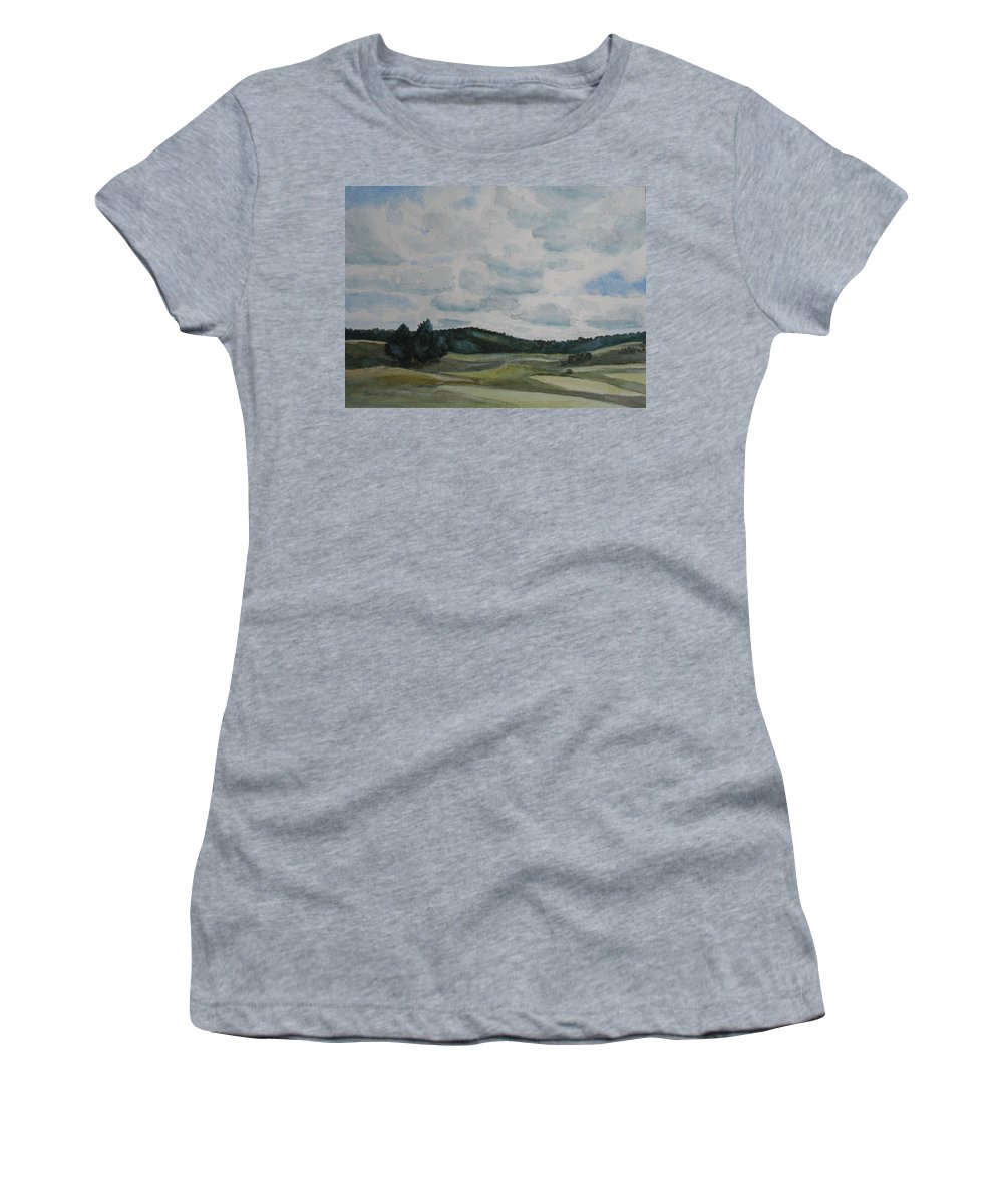 Mountains Women's T-Shirt featuring the painting Clouds Over Boot Hill by Jenny Armitage