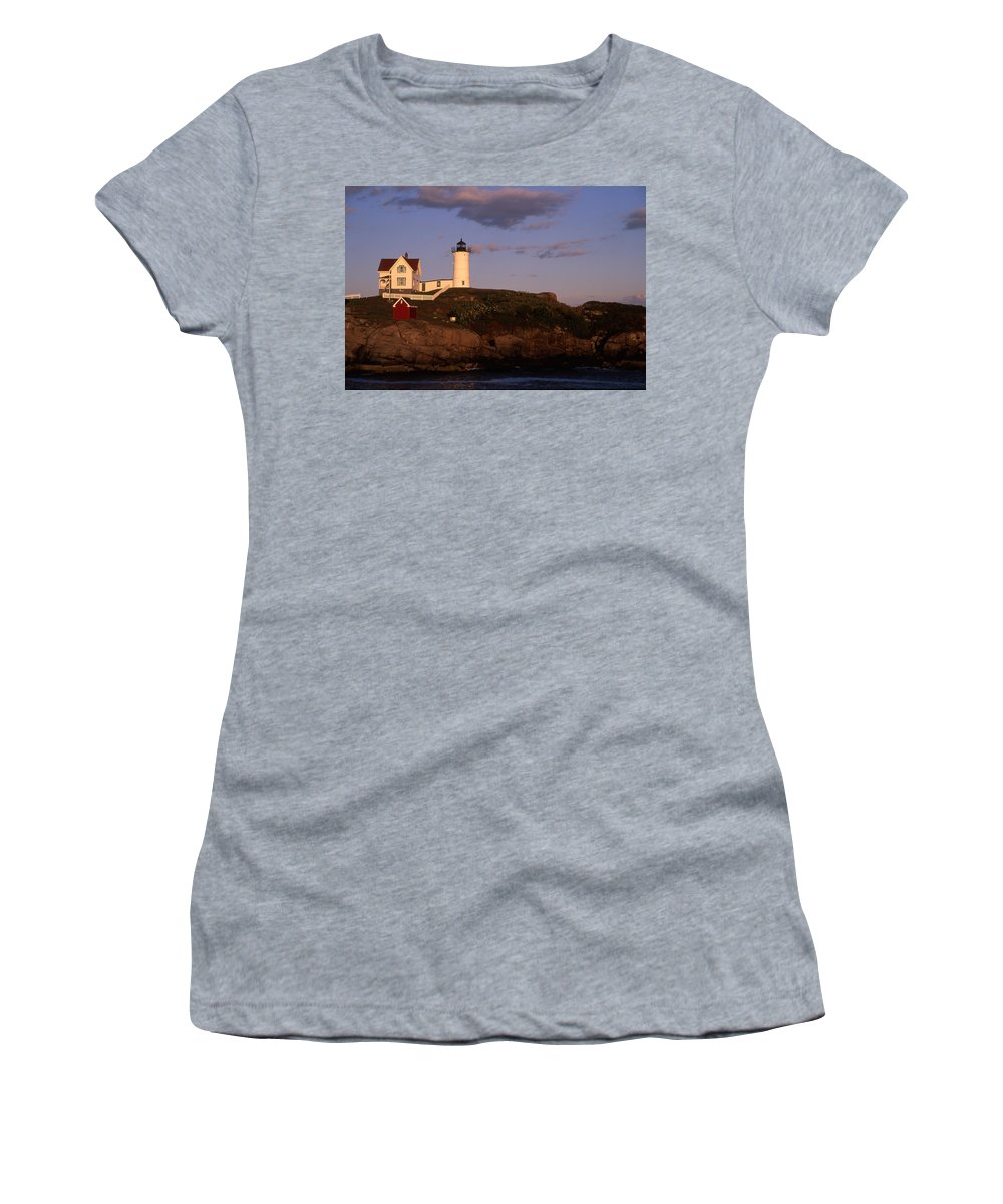 Landscape New England Lighthouse Nautical Coast Women's T-Shirt (Athletic Fit) featuring the photograph Cnrf0908 by Henry Butz