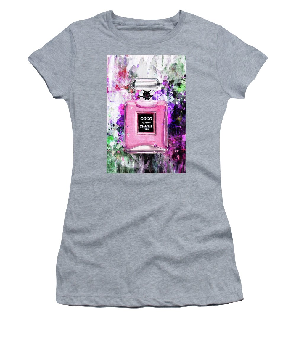 Chanel Art Print Women's T-Shirt (Athletic Fit) featuring the painting Coco Chanel Parfume Pink by Del Art