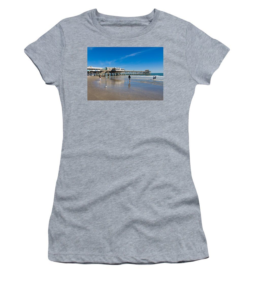 Florida; Cocoa; Beach; Atlantic; Ocean; East; Space; Coast; Brevard; Central; Pier; Surf; Surfing; F Women's T-Shirt (Athletic Fit) featuring the photograph Cocoa Beach Florida by Allan Hughes