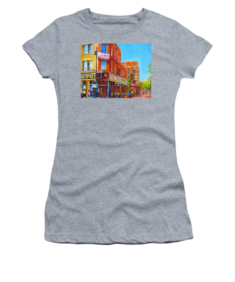 Cityscape Women's T-Shirt (Athletic Fit) featuring the painting Coffee Depot Cafe And Terrace by Carole Spandau