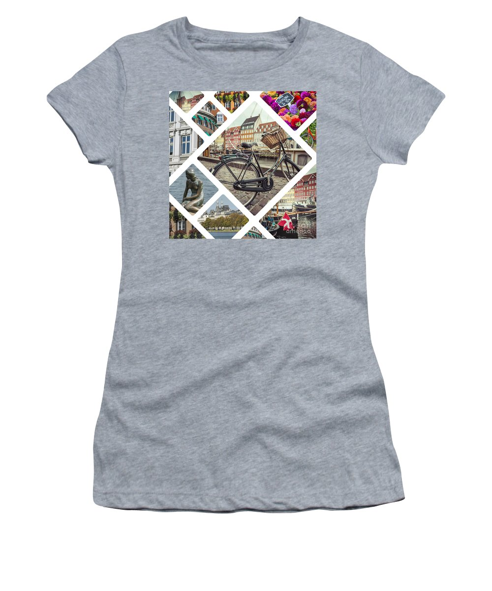 Photography Women's T-Shirt (Athletic Fit) featuring the photograph Collage Of Copenhagen by Mariusz Prusaczyk