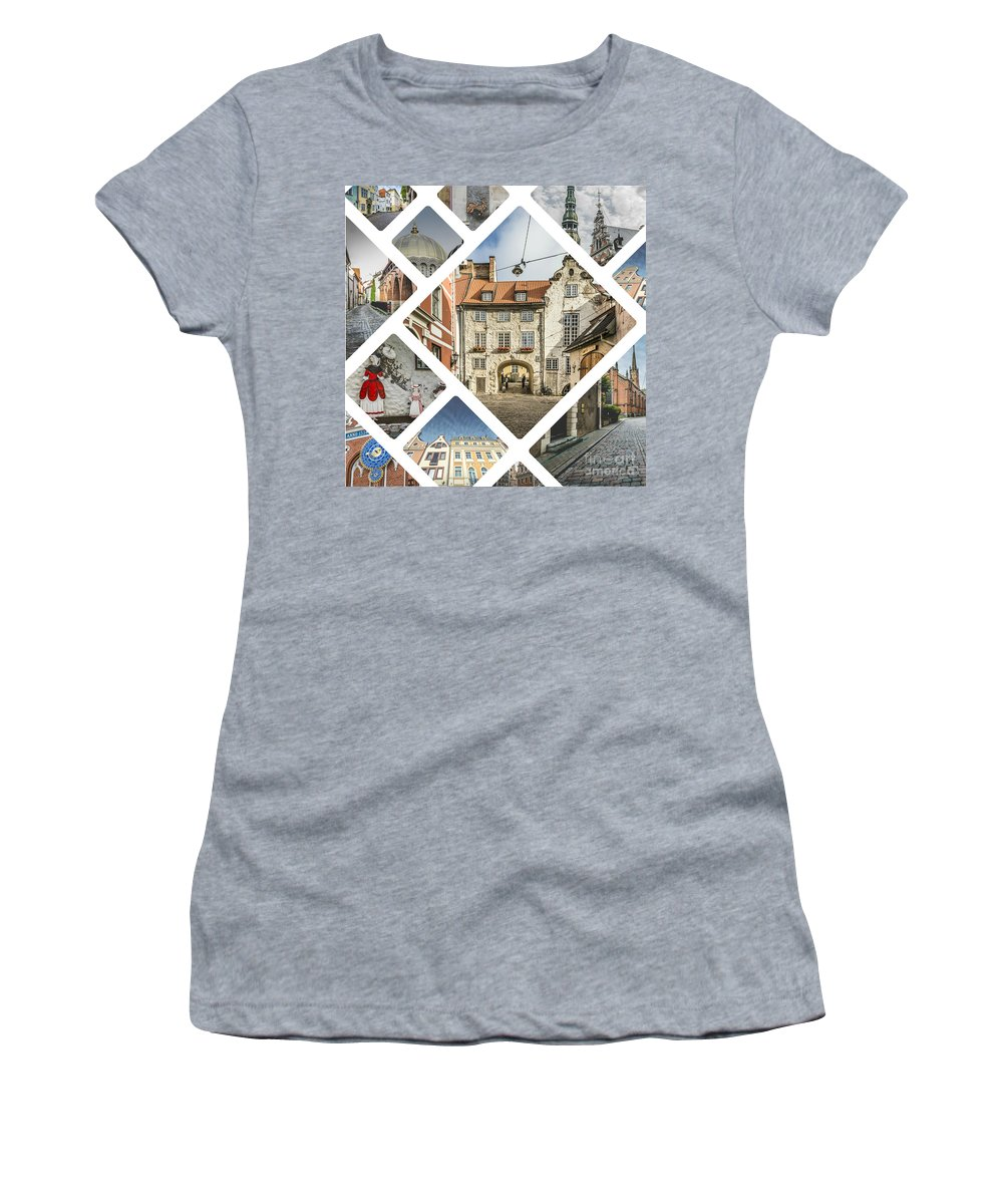 Riga Women's T-Shirt (Athletic Fit) featuring the photograph Collage Of Riga by Mariusz Prusaczyk