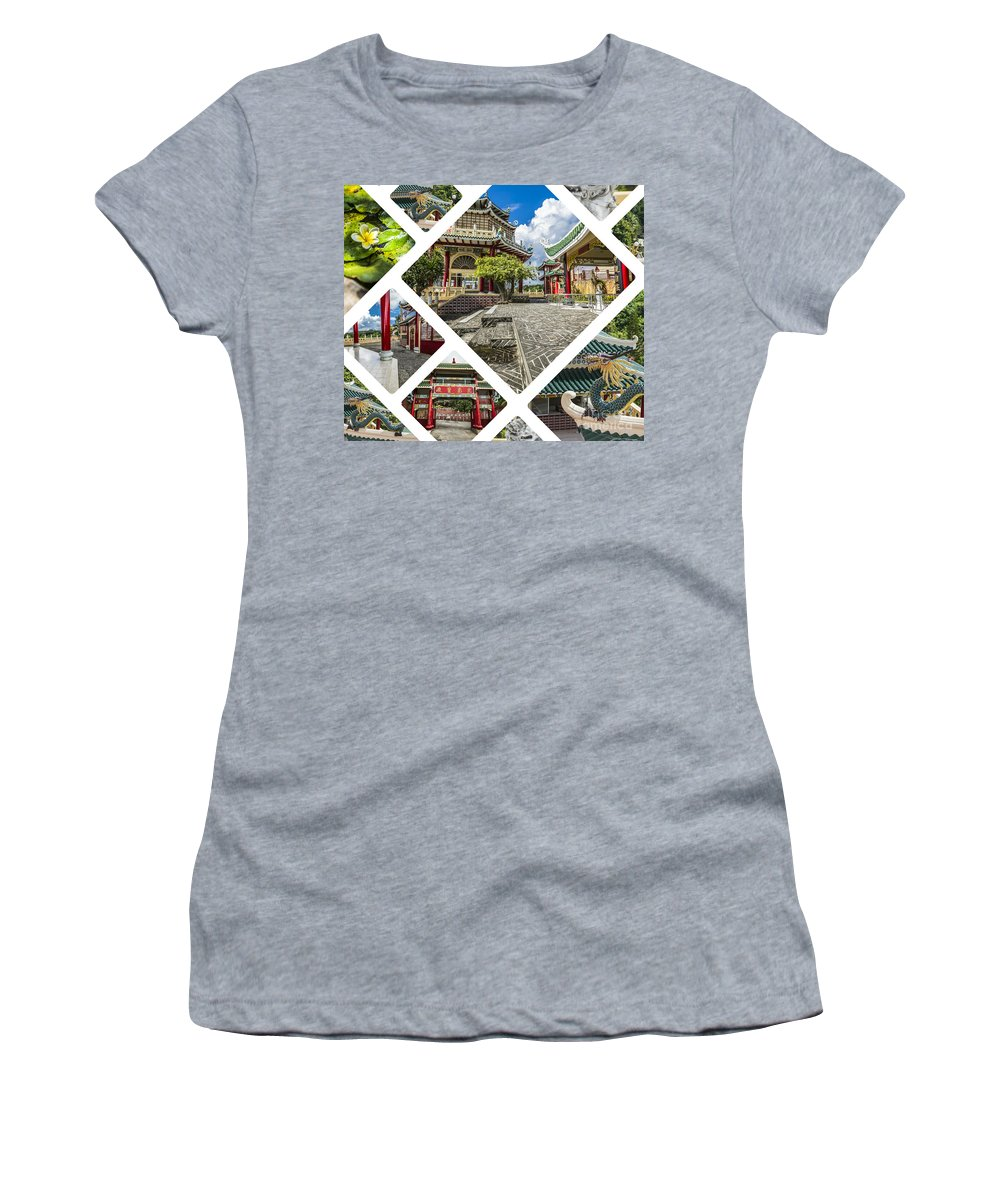 Ancient Women's T-Shirt (Athletic Fit) featuring the photograph Collage Of Taoist Temple In Cebu, Philippines. by Mariusz Prusaczyk