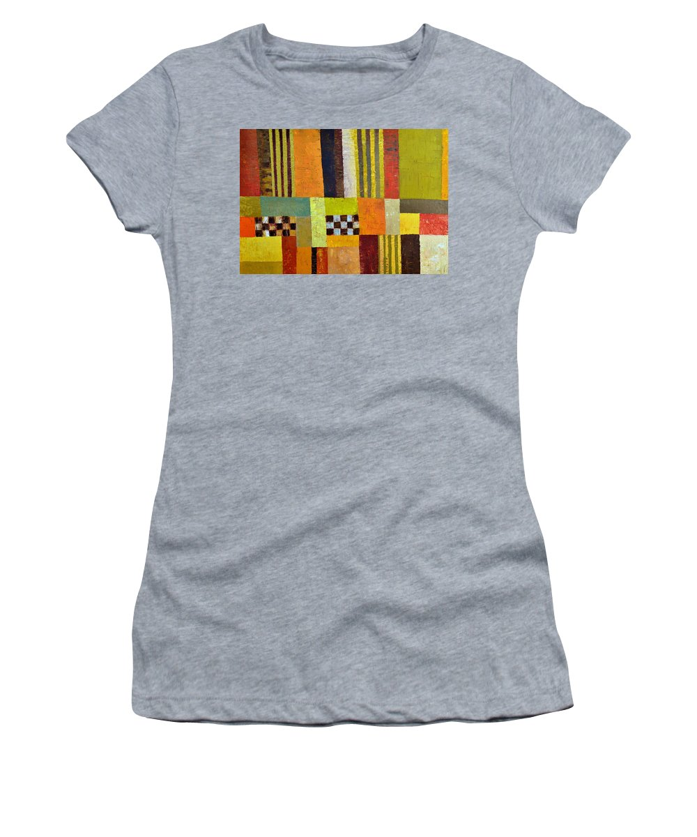 Colorful Women's T-Shirt (Athletic Fit) featuring the painting Color And Pattern Abstract by Michelle Calkins