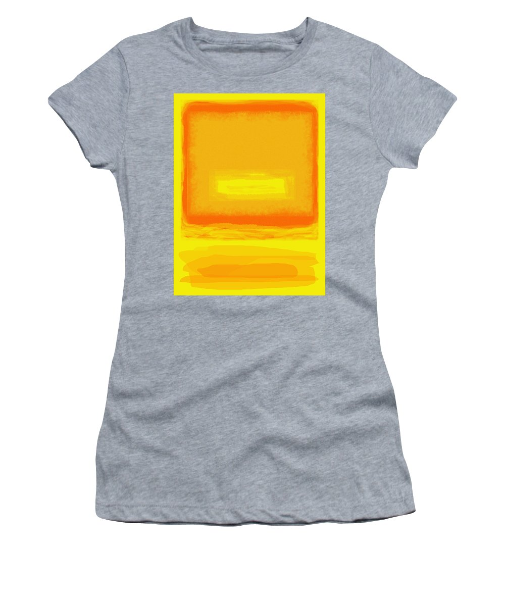 Color Field Women's T-Shirt (Athletic Fit) featuring the painting Color Field Sunset Yellow by Anne Cameron Cutri