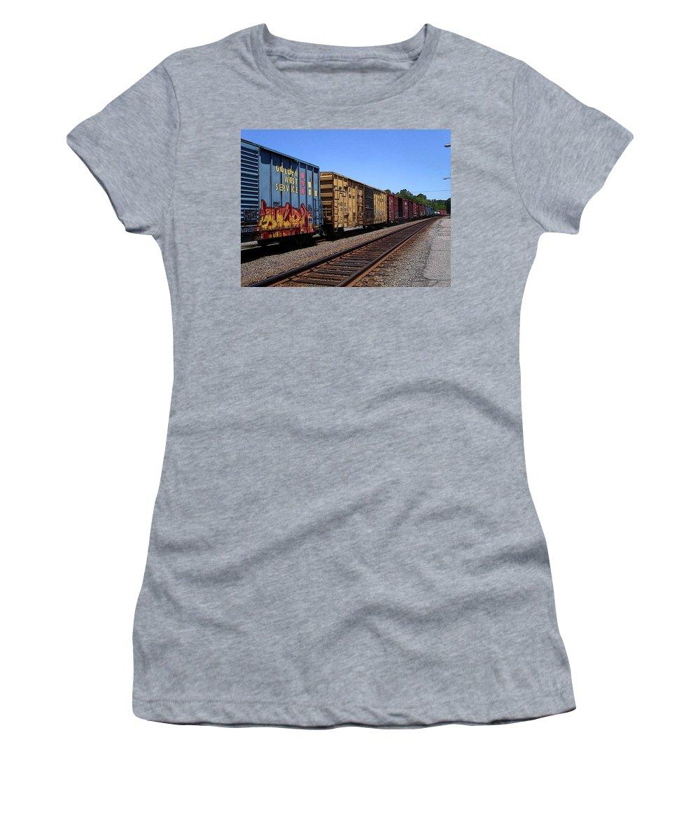 Train Women's T-Shirt featuring the photograph Color Train by Anne Cameron Cutri