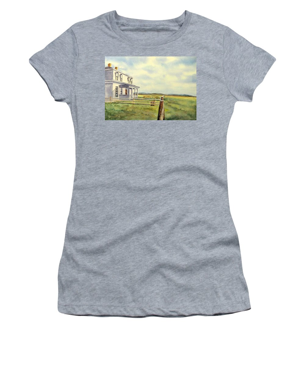 Watercolor Landscape Women's T-Shirt featuring the painting Colorado Ranch by Debbie Lewis