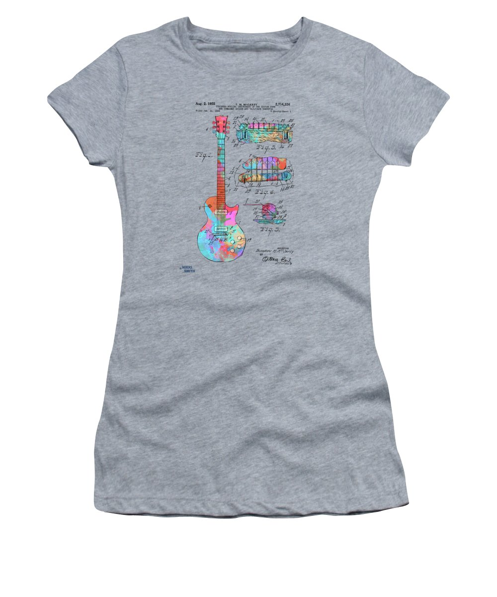 Guitar Women's T-Shirt featuring the digital art Colorful 1955 Mccarty Gibson Les Paul Guitar Patent Artwork by Nikki Marie Smith