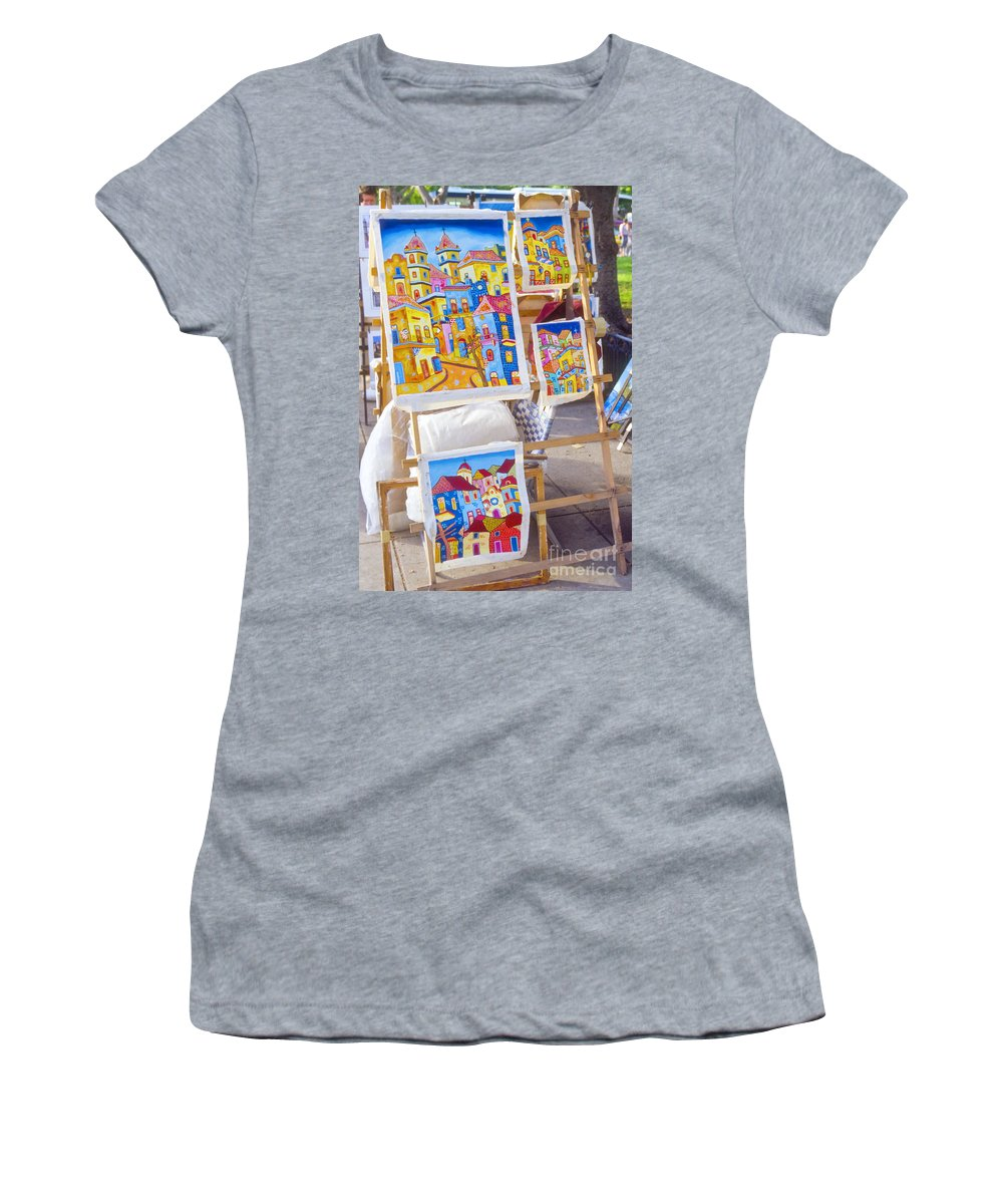 Havana Cuba Painting Paintings Artwork Artworks Market Markets Picture Pictures City Cities Cityscape Cityscapes Art Women's T-Shirt (Athletic Fit) featuring the photograph Colorful Cuban Art by Bob Phillips