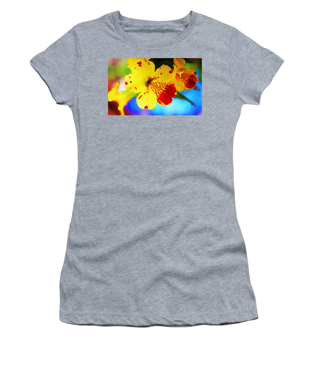 Sill Life Women's T-Shirt featuring the photograph Colorful Pansies by Lori Mahaffey