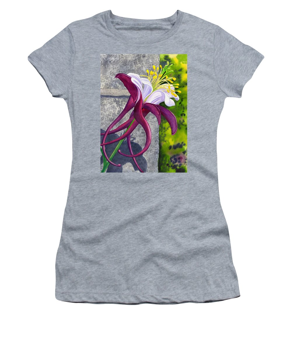 Columbine Women's T-Shirt (Athletic Fit) featuring the painting Columbine by Catherine G McElroy