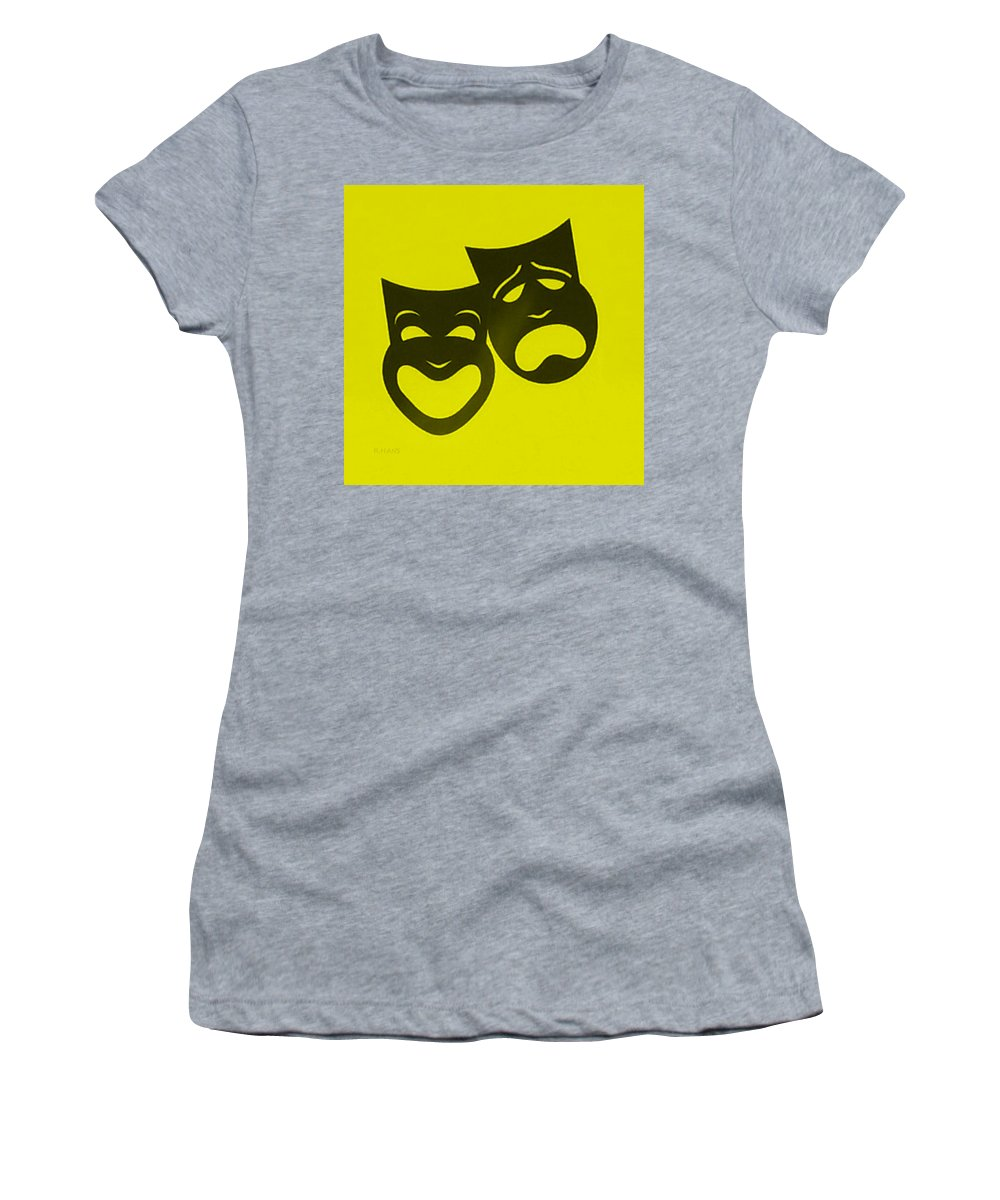 Comedy And Tragedy Women's T-Shirt featuring the photograph Comedy N Tragedy Neg Yellow by Rob Hans