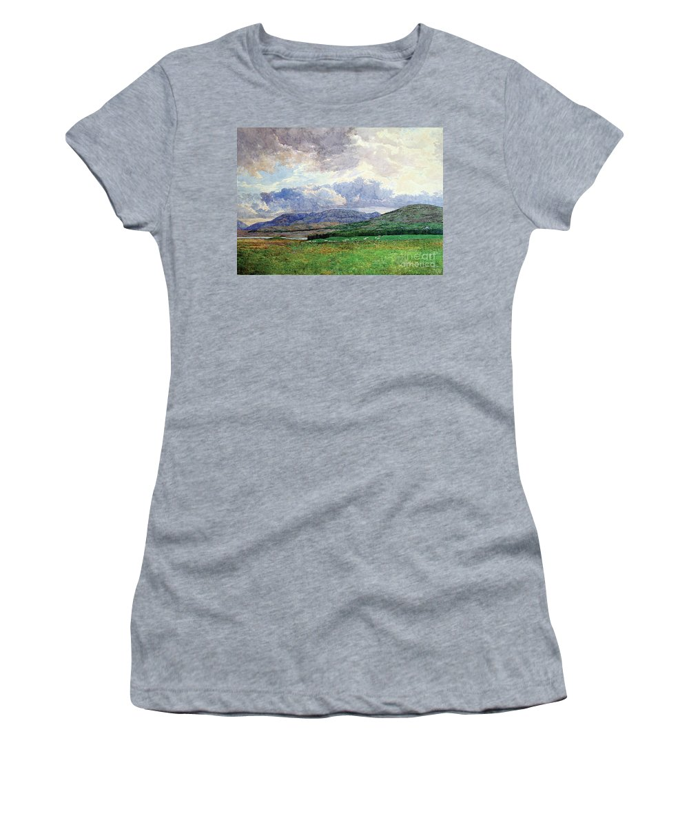 Landscape Women's T-Shirt (Athletic Fit) featuring the painting Connemara Mountains by Simon Kozhin