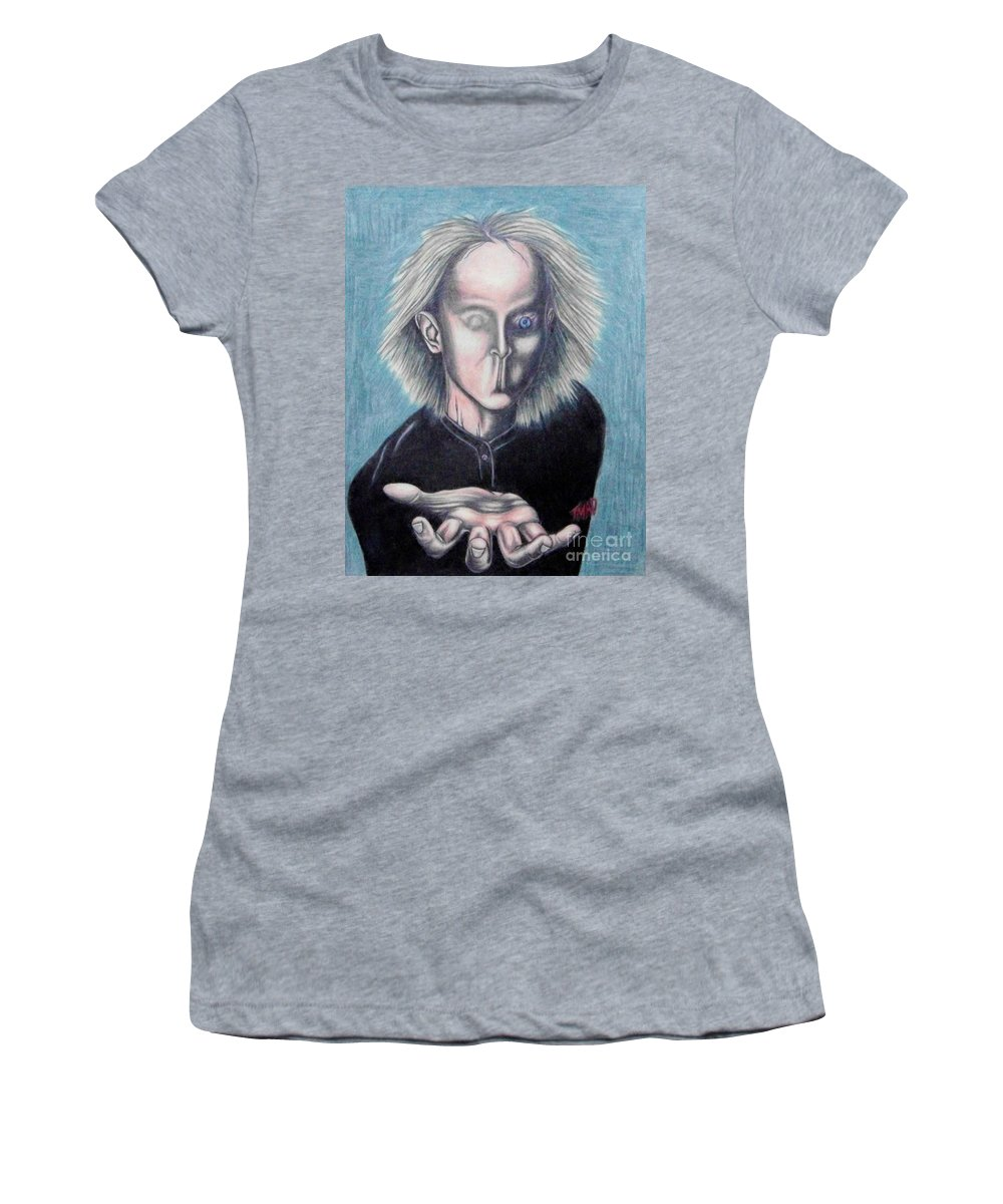 Tmad Women's T-Shirt (Athletic Fit) featuring the drawing Consciousness by Michael TMAD Finney