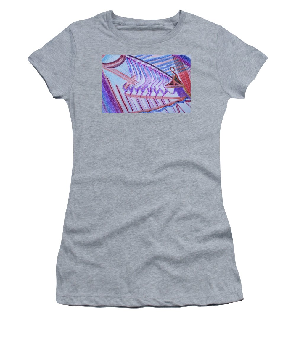 Abstract Women's T-Shirt (Athletic Fit) featuring the painting Construction by Suzanne Udell Levinger