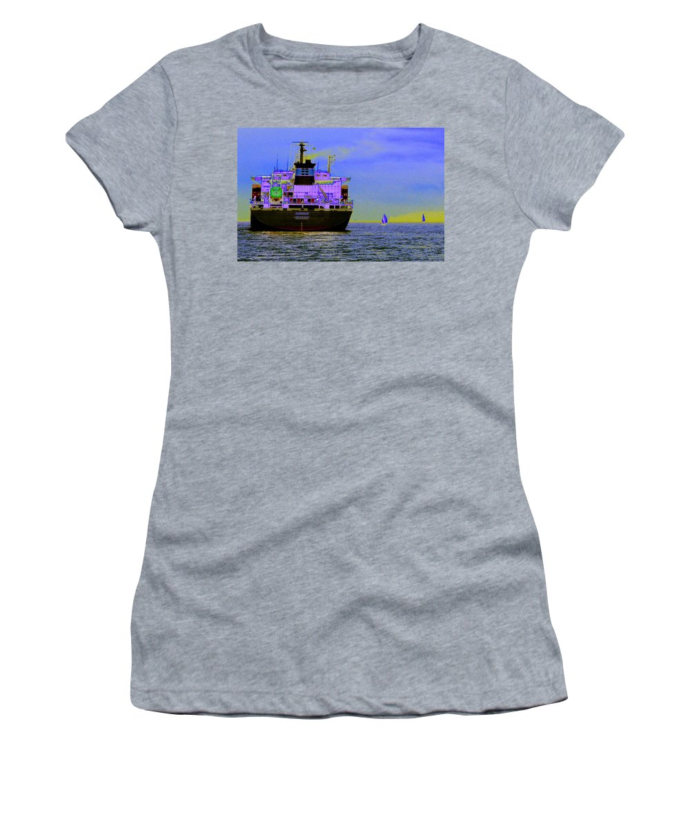 Seattle Women's T-Shirt (Athletic Fit) featuring the photograph Container Sail by Tim Allen