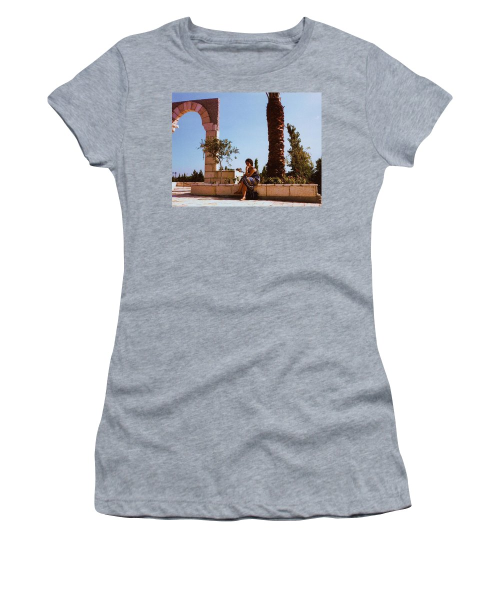 Contemplation Women's T-Shirt (Athletic Fit) featuring the painting Contemplation by Carole Spandau