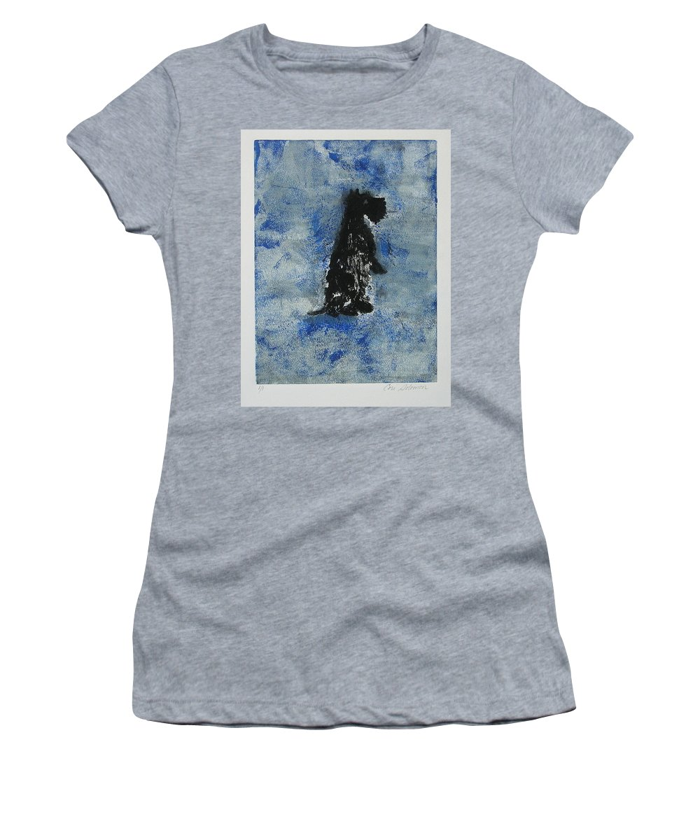 Monotype Women's T-Shirt (Athletic Fit) featuring the mixed media Cool Blue by Cori Solomon