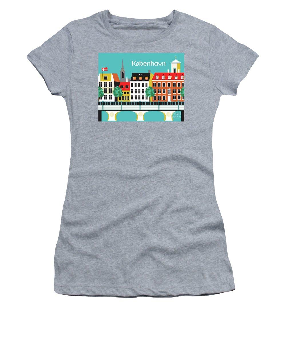 Copenhagen Women's T-Shirt (Athletic Fit) featuring the digital art Copenhagen Kobenhavn Denmark Horizontal Scene by Karen Young