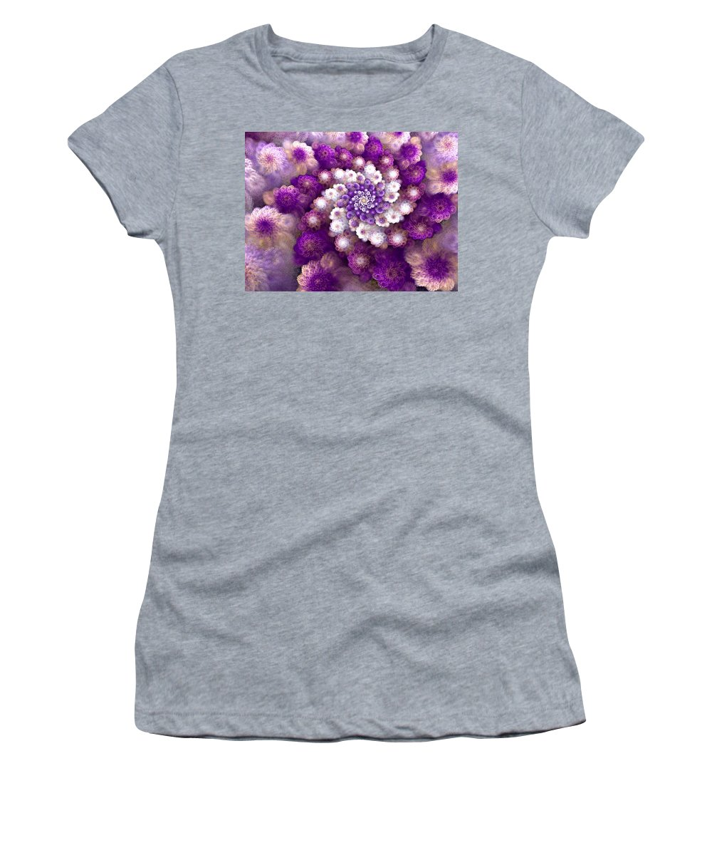 Fractal Women's T-Shirt (Athletic Fit) featuring the digital art Coraled Blooms by Amorina Ashton