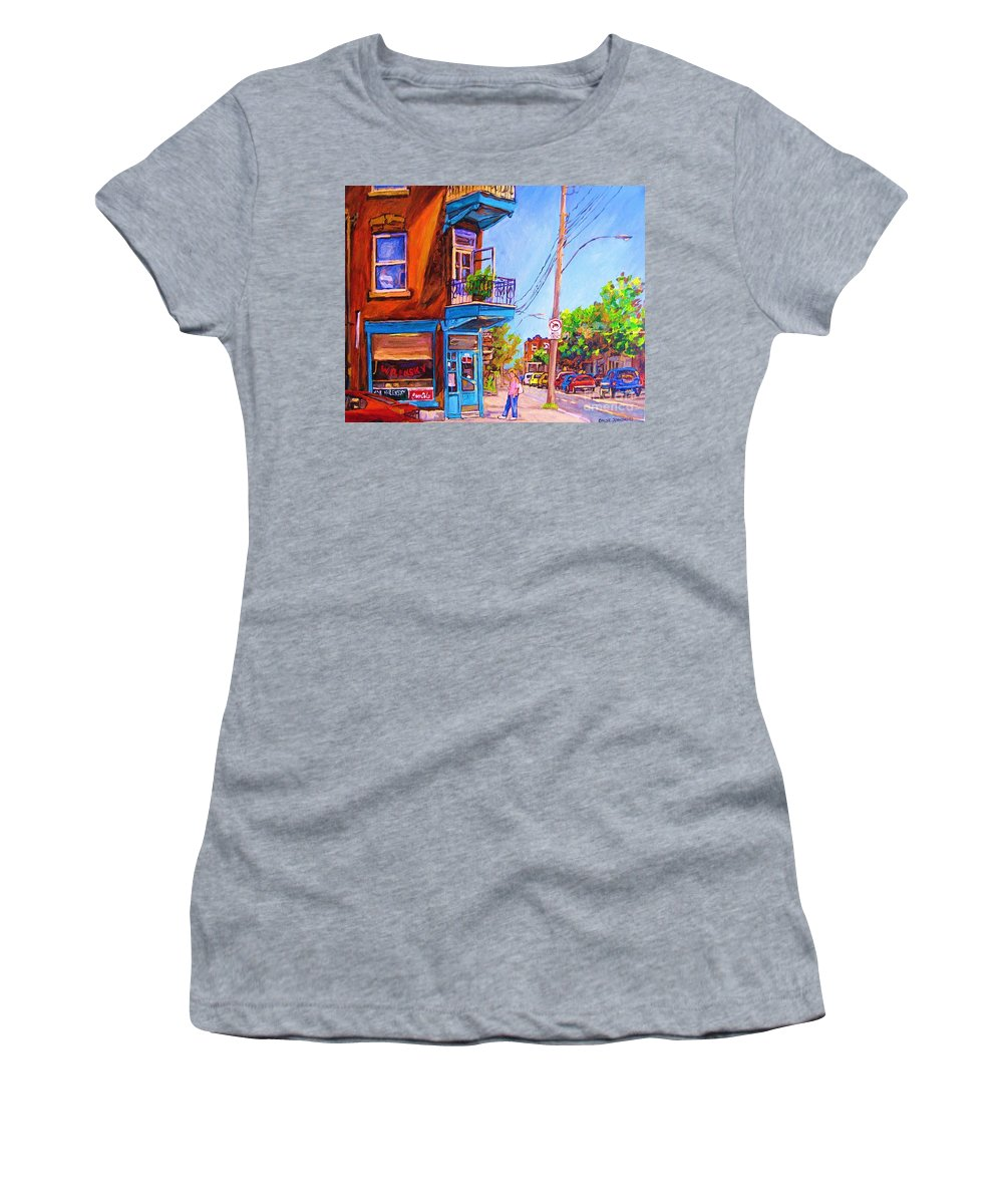 Wilenskys Corner Fairmount And Clark Women's T-Shirt featuring the painting Corner Deli Lunch Counter by Carole Spandau