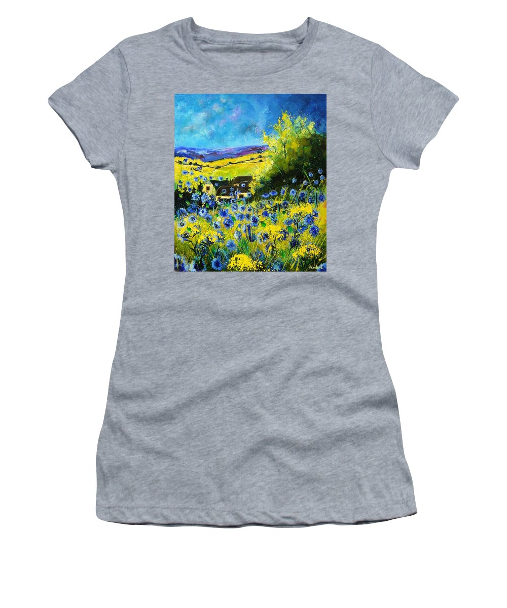 Flowers Women's T-Shirt (Athletic Fit) featuring the painting Cornflowers In Ver by Pol Ledent