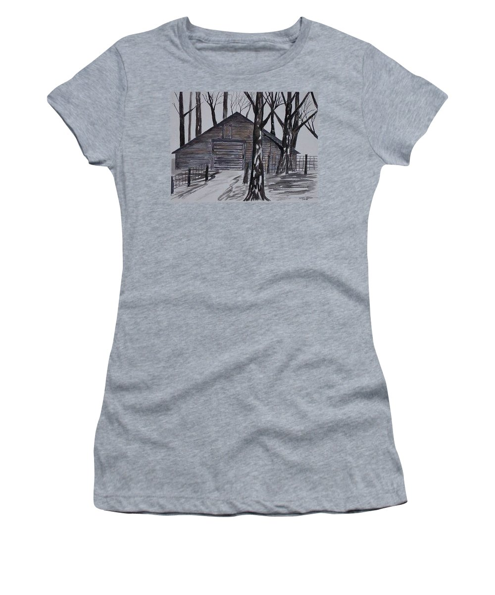 Watercolor Landscape Painting Barn Pen And Ink Drawing Print Original Women's T-Shirt (Athletic Fit) featuring the painting Country Barn Pen And Ink Drawing Print by Derek Mccrea