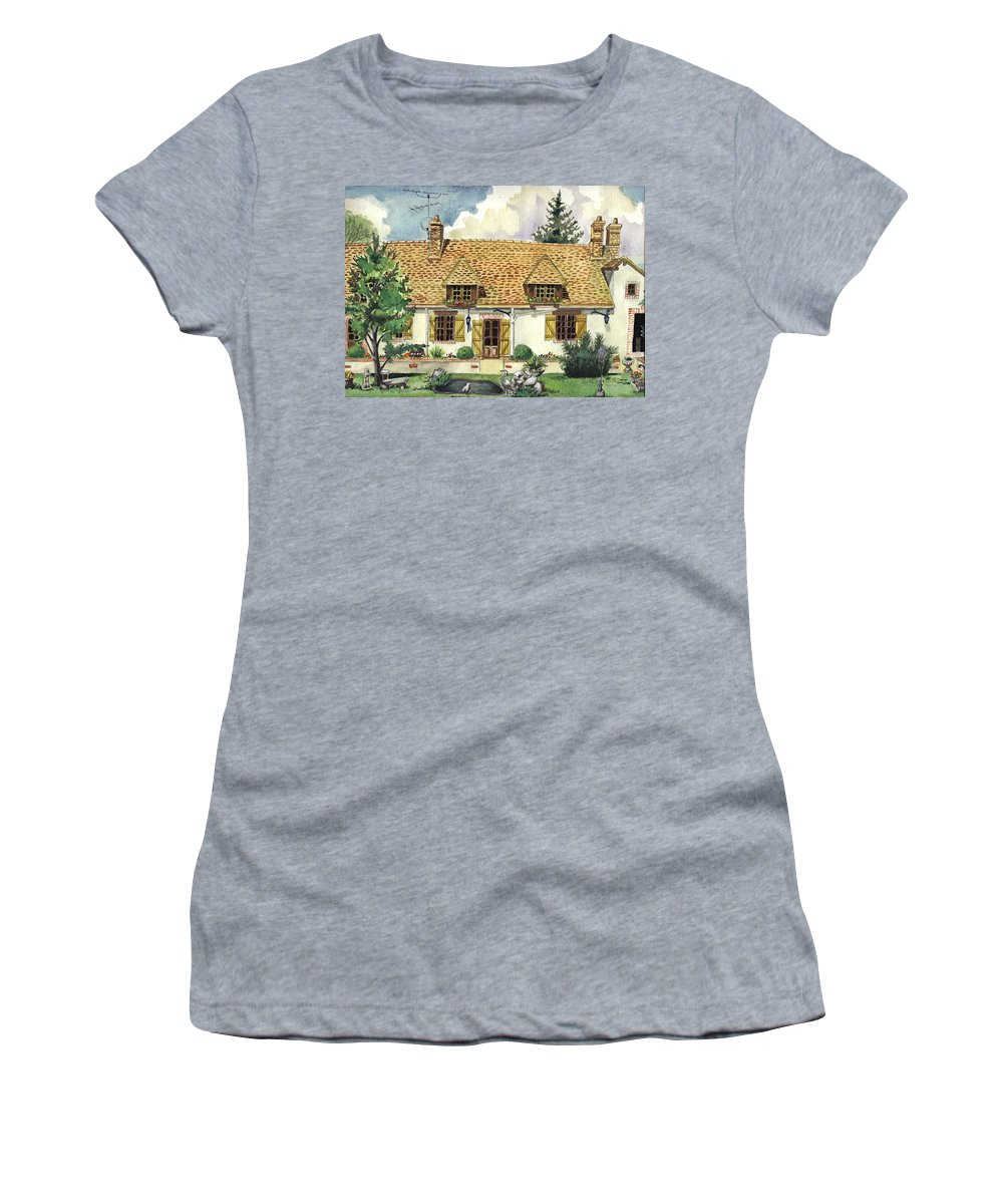 House Women's T-Shirt (Athletic Fit) featuring the painting Countryside House In France by Alban Dizdari