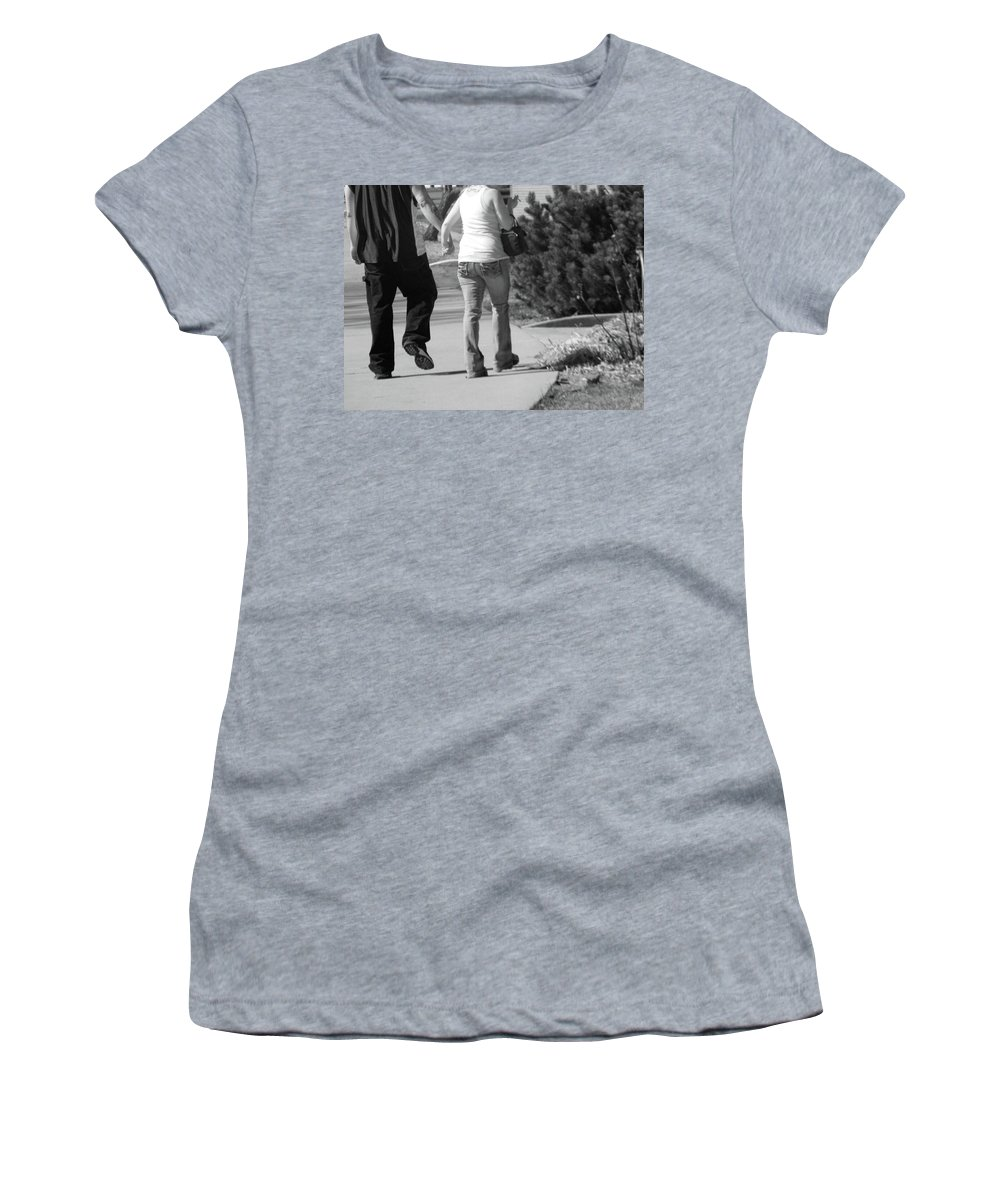Abstract Women's T-Shirt (Athletic Fit) featuring the photograph Couple Walking Down Sidewalk by Lenore Senior