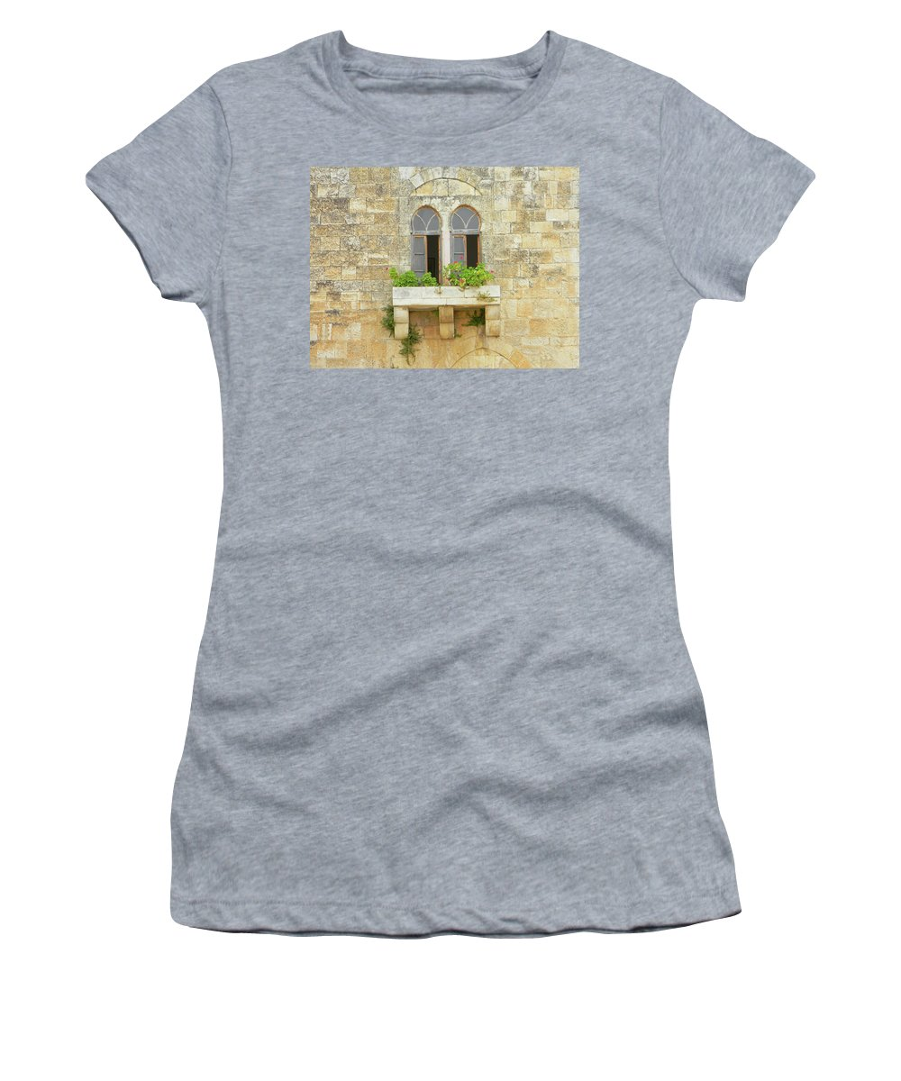 Marwan Women's T-Shirt (Athletic Fit) featuring the photograph Coupled Windows by Marwan George Khoury