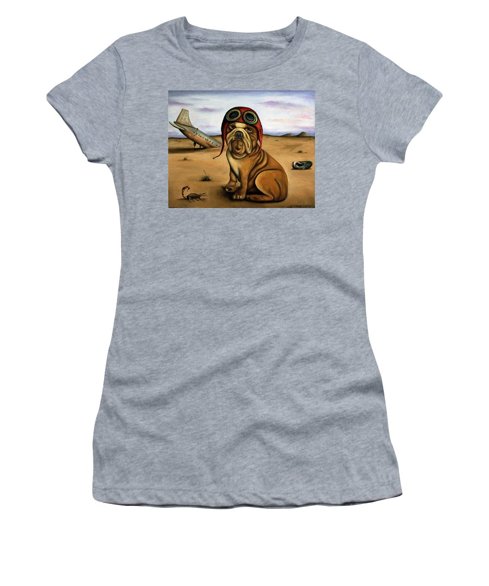 Plane Women's T-Shirt (Athletic Fit) featuring the painting Crash by Leah Saulnier The Painting Maniac