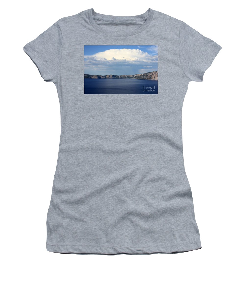 Clouds Women's T-Shirt (Athletic Fit) featuring the photograph Crater Lake by Carol Groenen