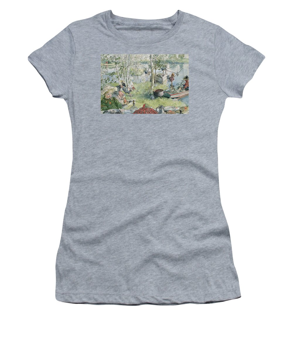 Crayfishing Women's T-Shirt (Athletic Fit) featuring the painting Crayfishing by Carl Larsson