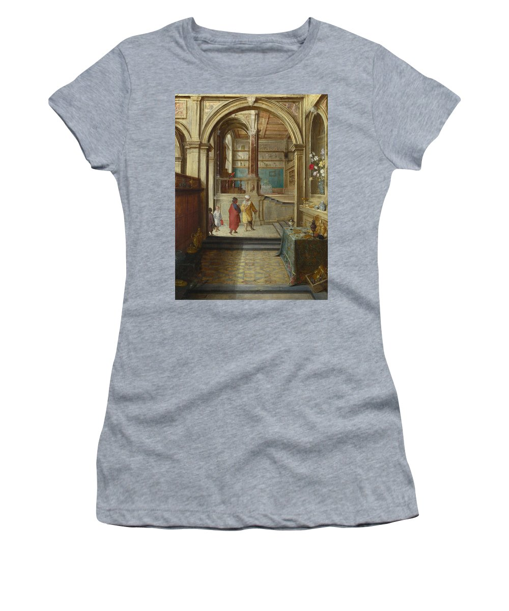 Hendrick Women's T-Shirt (Athletic Fit) featuring the digital art Croesus And Solon by PixBreak Art