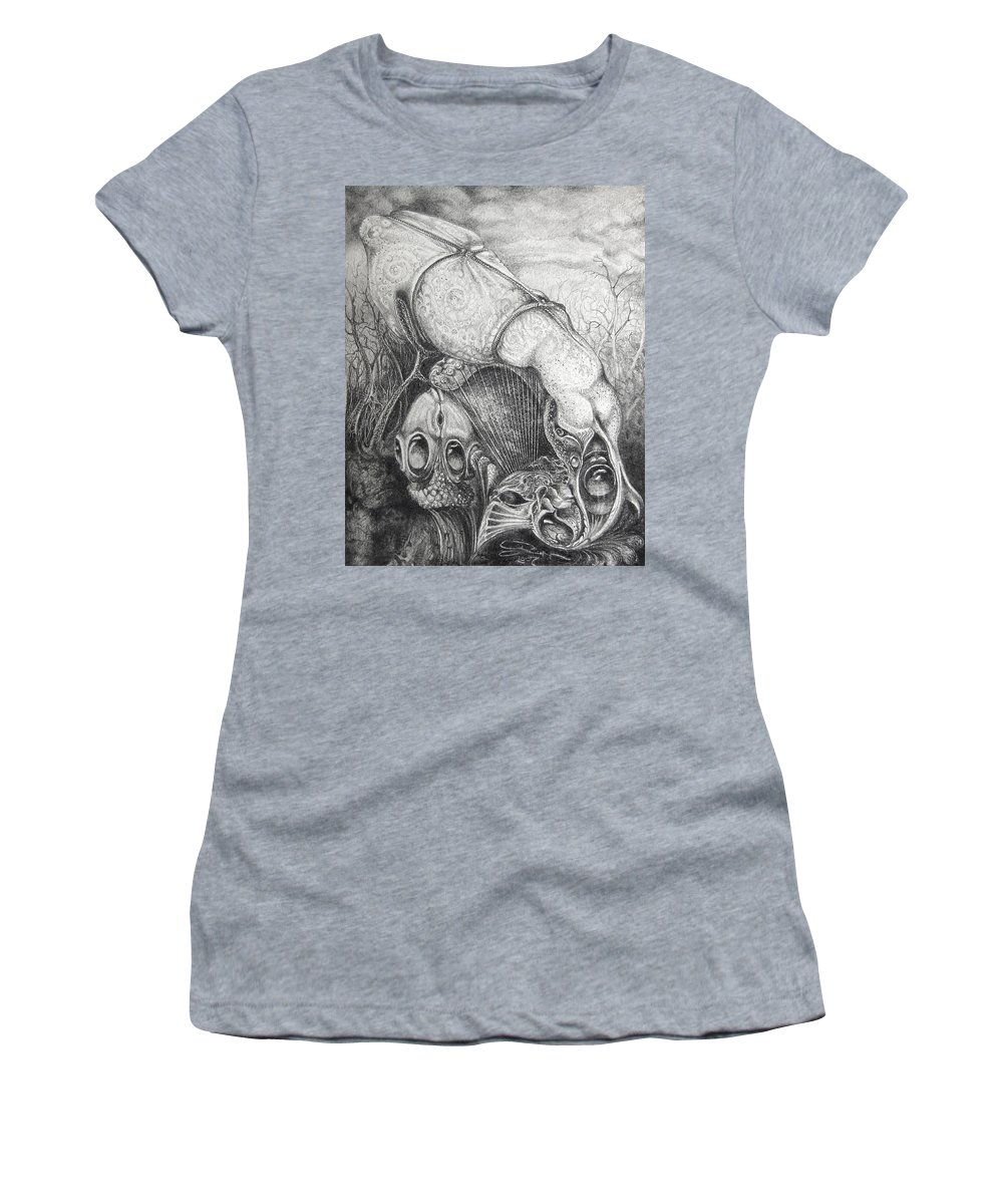 Surrealism Women's T-Shirt (Athletic Fit) featuring the drawing Ctulhu Seedpods by Otto Rapp