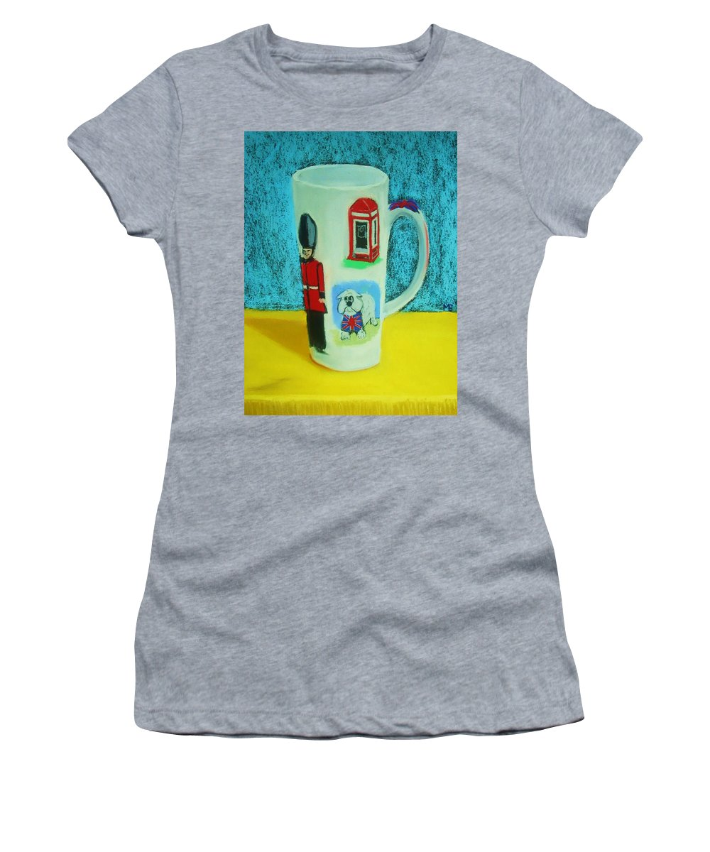 Coffee Cup Women's T-Shirt (Athletic Fit) featuring the painting Cup Of London Java by Melinda Etzold