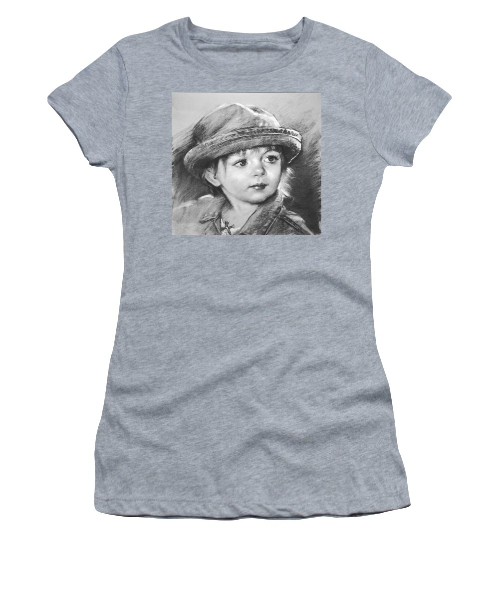 Portrait Women's T-Shirt (Athletic Fit) featuring the drawing Curios by Ylli Haruni
