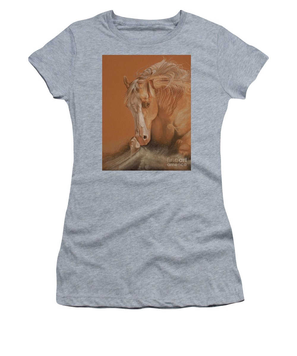 Horse Women's T-Shirt (Athletic Fit) featuring the painting Cutting Horse by Gail Finger