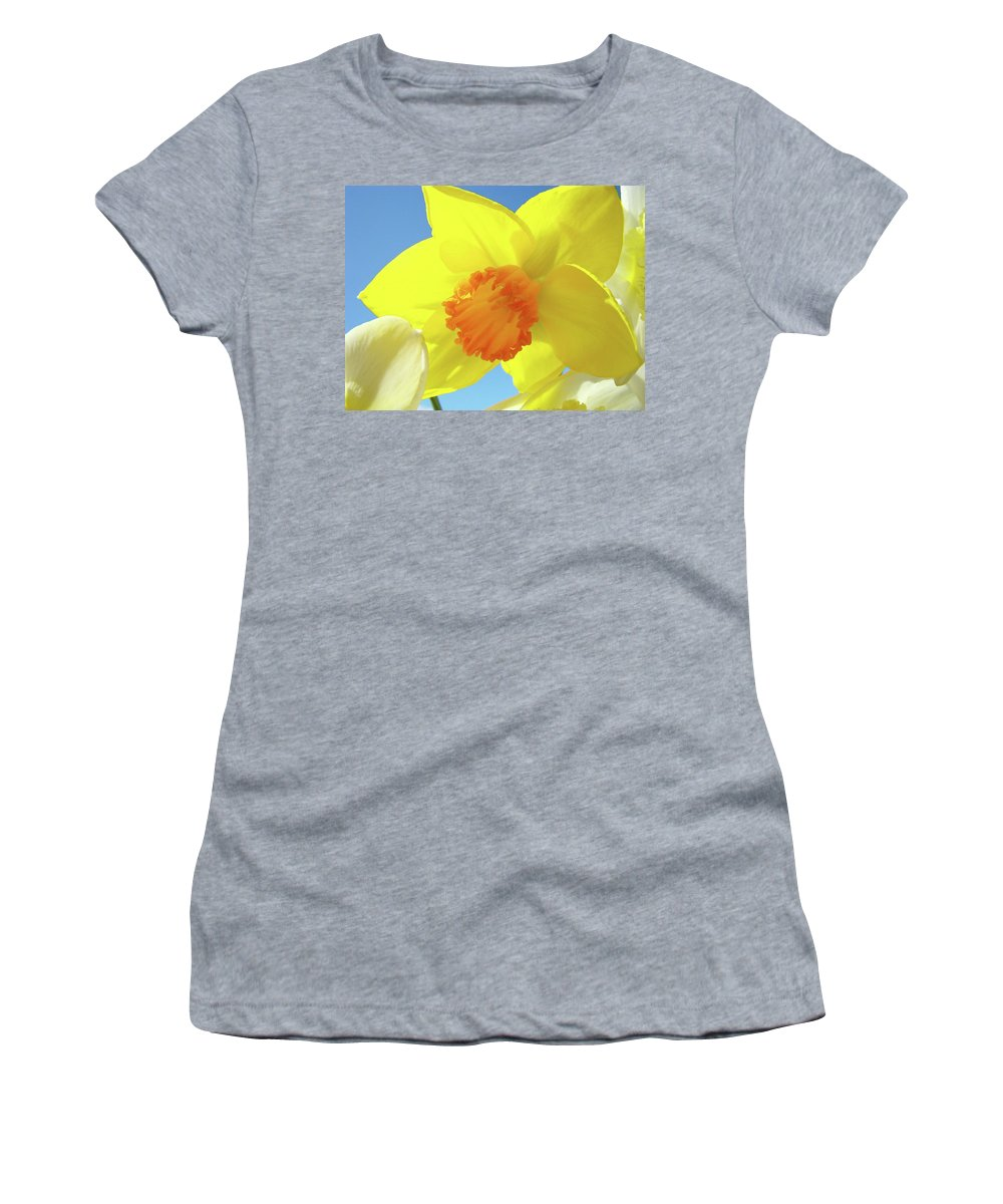 �daffodils Artwork� Women's T-Shirt (Athletic Fit) featuring the photograph Daffodil Flowers Artwork 18 Spring Daffodils Art Prints Floral Artwork by Baslee Troutman