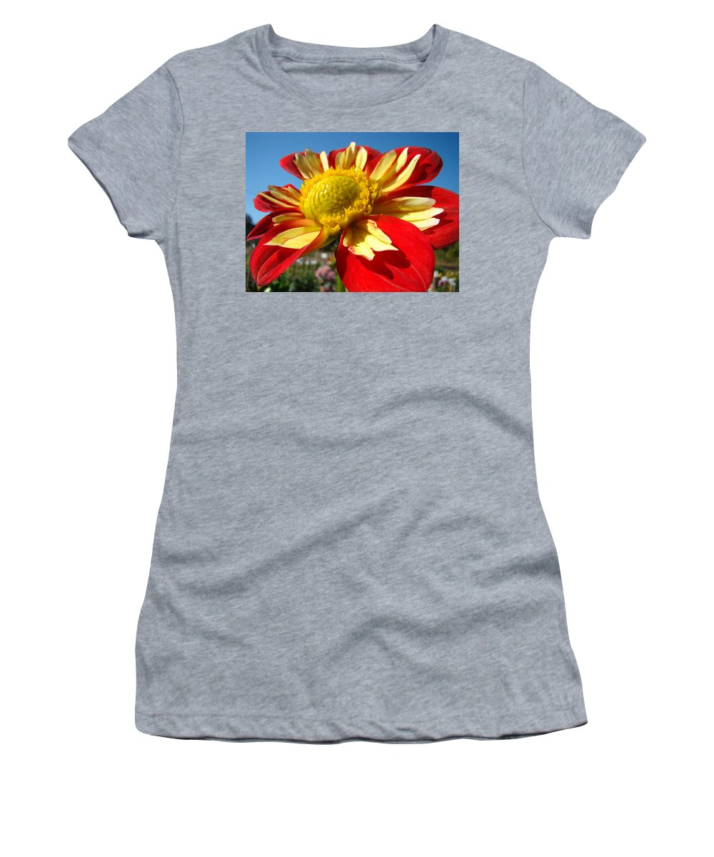 Dahlia Women's T-Shirt (Athletic Fit) featuring the photograph Dahlia Flower Art Prints Canvas Red Yellow Dahlias Baslee Troutman by Baslee Troutman