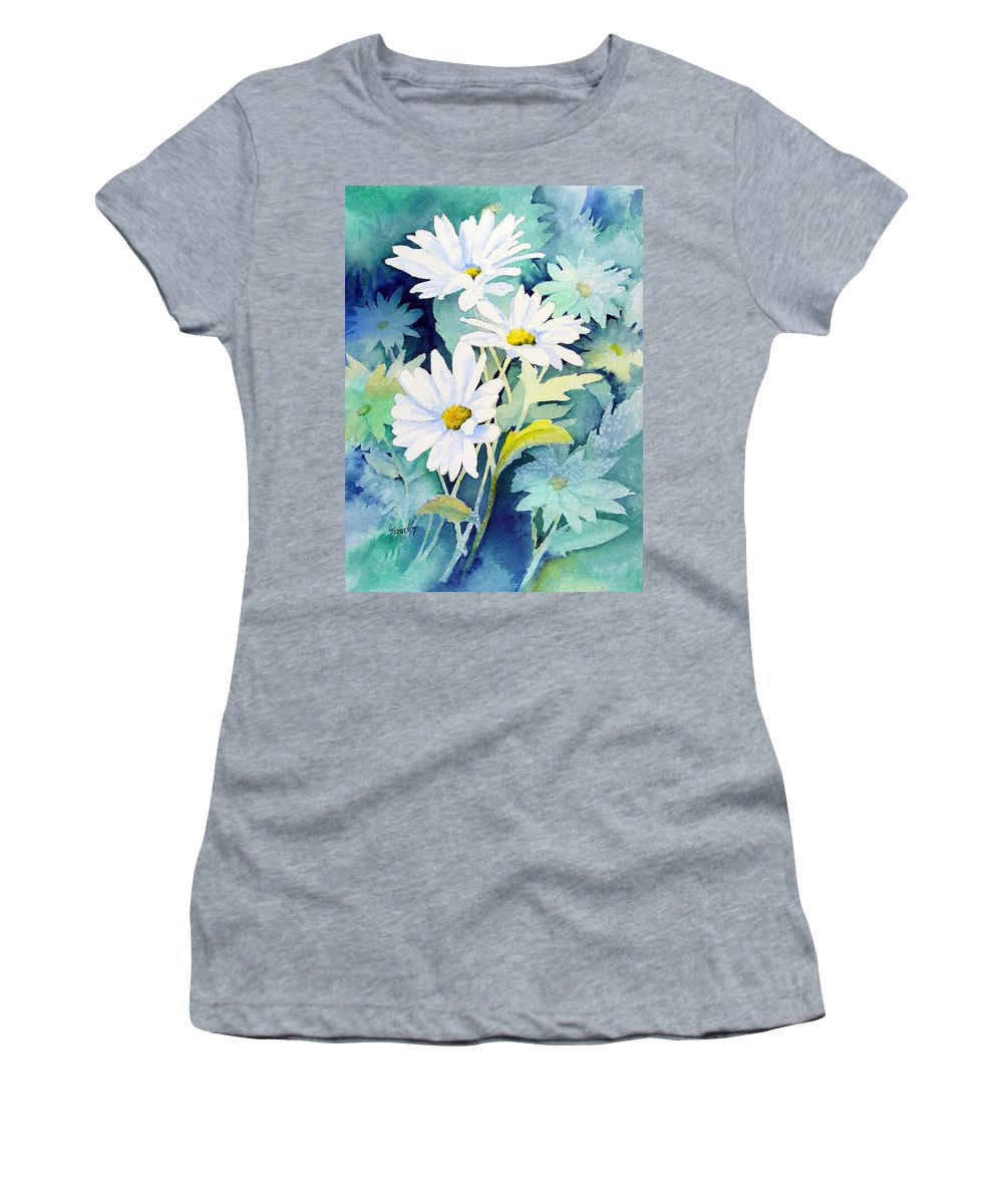 Flowers Women's T-Shirt (Athletic Fit) featuring the painting Daisies by Sam Sidders
