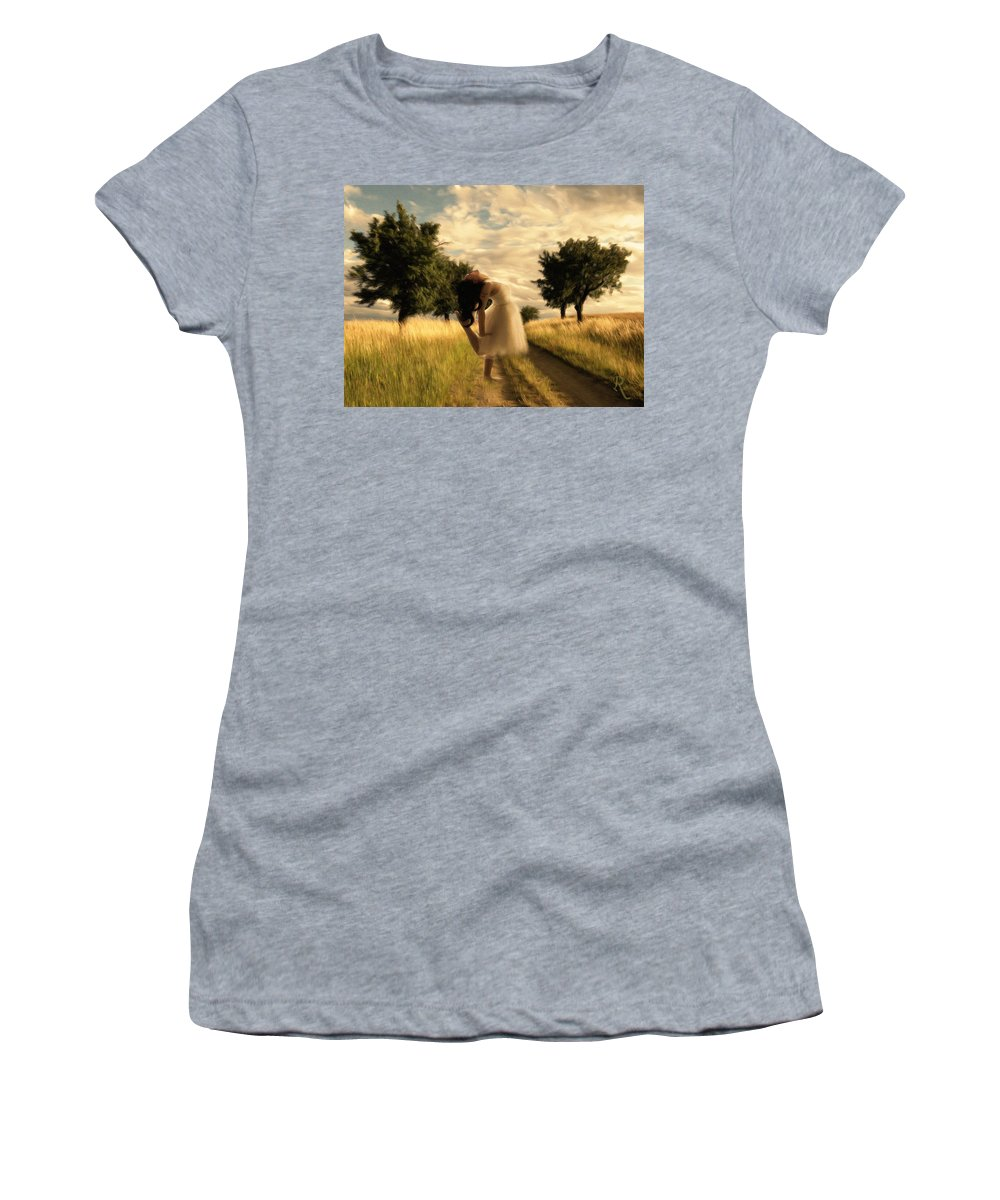 Impressionism Women's T-Shirt (Athletic Fit) featuring the painting Dance Until Dawn by Georgiana Romanovna