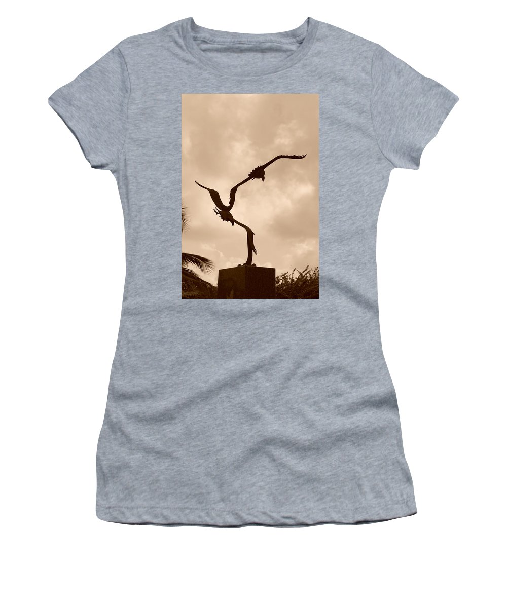 Sepia Women's T-Shirt featuring the photograph Dancing Birds by Rob Hans