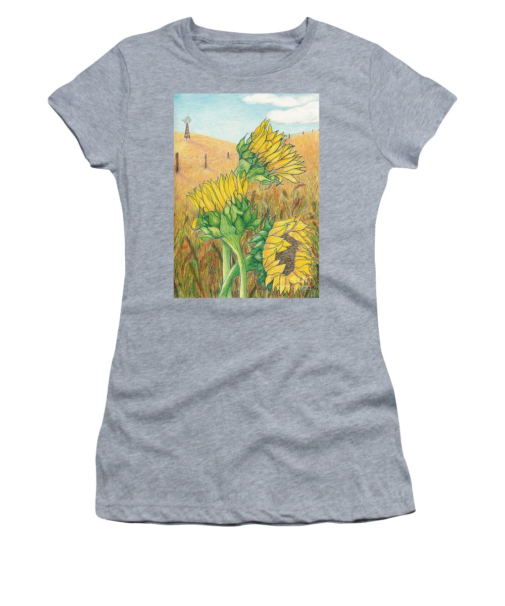 Sunflower Women's T-Shirt (Athletic Fit) featuring the mixed media Dancing In The Breeze by Vicki Housel