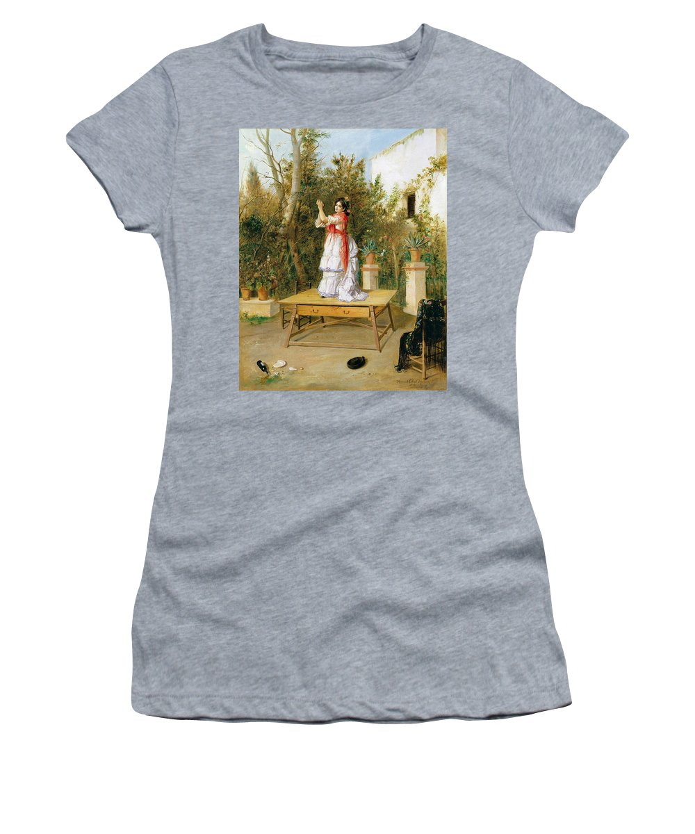 Manuel Cabral Aguado Bejarano Women's T-Shirt featuring the painting Dancing by Manuel Cabral