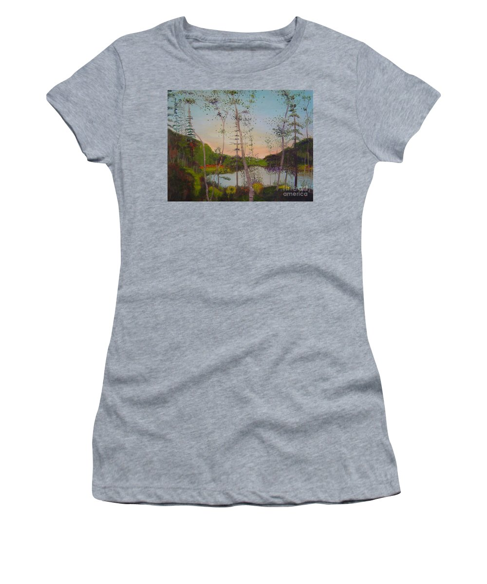 Landscape Women's T-Shirt (Athletic Fit) featuring the painting Dawn By The Pond by Lilibeth Andre