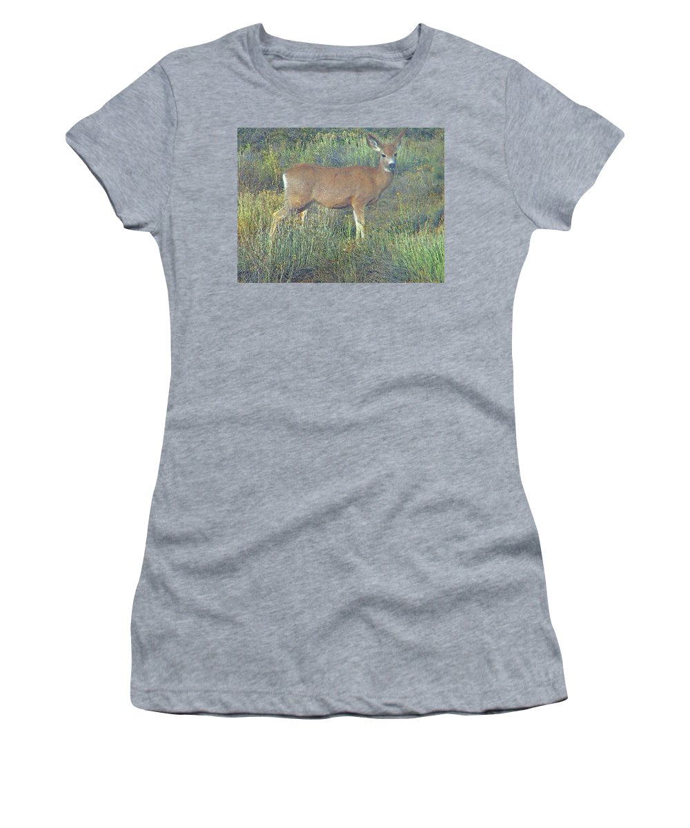Abstract Women's T-Shirt (Athletic Fit) featuring the photograph Dawn Names The Deer by Lenore Senior